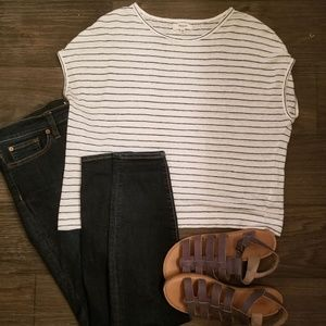 Madewell White And Black Striped Shirt Size XS